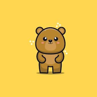 Cute teddy bear cartoon   illustration Premium Vector
