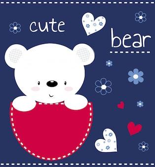 Cute teddy bear childish illustration
