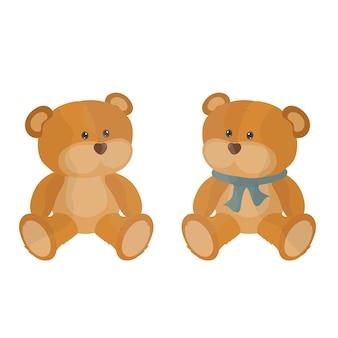 Милый плюшевый мишка детская игрушка. симпатичная забавная коричневая игрушка-зверюшка для малышек в детский сад. объекты воспитания и развития детей. плоские изолированные иллюстрации на белом фоне.