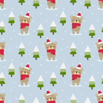 Cute teddy bear in christmas theme seamless pattern