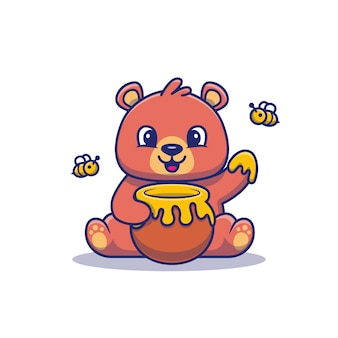 Cute teddy bear eat honey illustration. bear and honey    . flat cartoon style Premium Vector