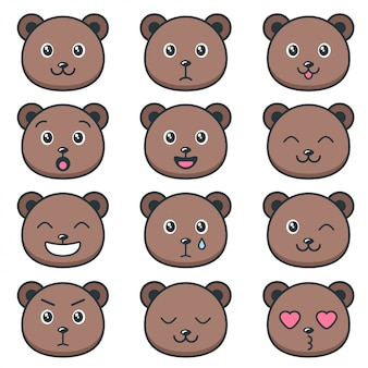 Cute teddy bear faces with different emotions