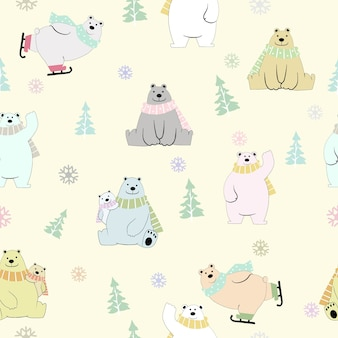 Cute teddy bear family  happy on winter seamless pattern.