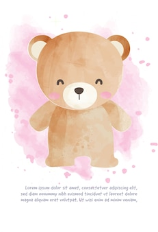 Cute teddy bear for greeting card  in watercolor style.