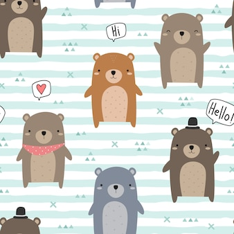 Cute teddy bear greeting cartoon doodle seamless pattern
