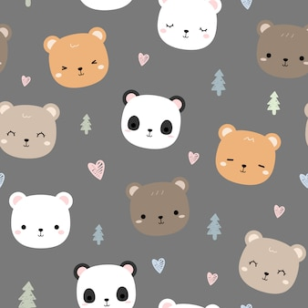 Cute teddy bear head cartoon doodle seamless pattern