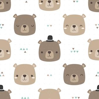 Cute teddy bear head cartoon doodle seamless pattern