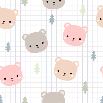 Cute teddy bear head with grid cartoon doodle seamless pattern