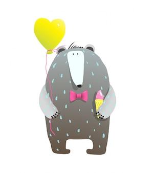 Cute teddy bear and heart balloon