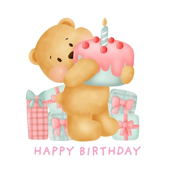 Cute teddy bear holding a cake for birthday card.
