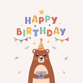Cute teddy bear holding a gift box in its paws colorful birthday card on pastel background