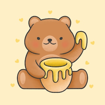 Cute teddy bear holding honey jar cartoon hand drawn style