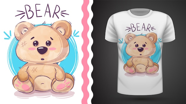 Cute teddy bear - idea for print t-shirt