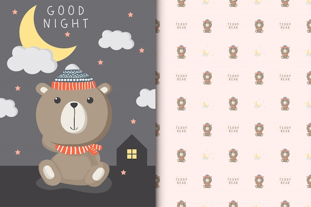 Cute teddy bear illustration with seamless patternt