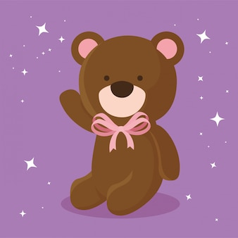 Cute teddy bear isolated icon illustration
