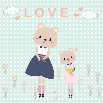 Cute teddy bear mom and girl cartoon card