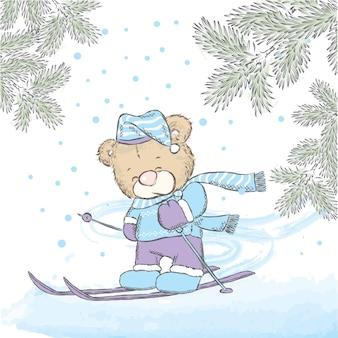 スキーやクリスマスの服にかわいいテディベア