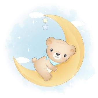 Милый плюшевый мишка на луне животное акварель иллюстрация