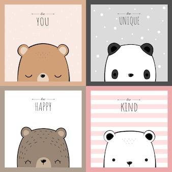 Cute teddy bear and panda cartoon doodle childish card