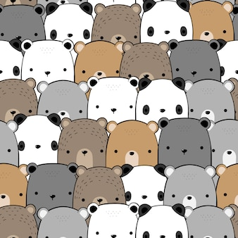 Cute teddy bear, panda, polar cartoon doodle seamless pattern