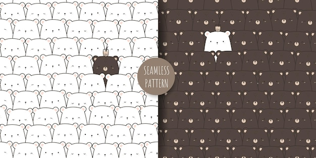 Cute teddy bear and polar bear cartoon doodle seamless pattern set