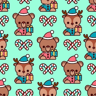 Cute teddy bear and reindeer doll with christmas candy stick seamless pattern