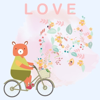 Cute teddy bear ride bicycle catoon