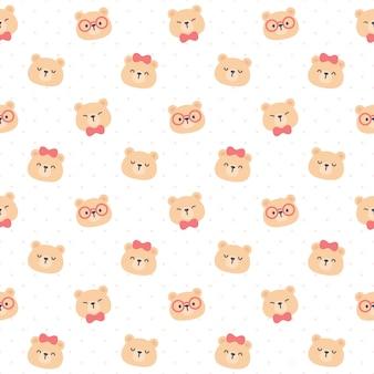 Милый плюшевый мишка бесшовный фон