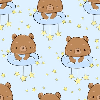 Cute teddy bear sitting on a cloud and stars pattern seamless.  illustration.  textile design for children