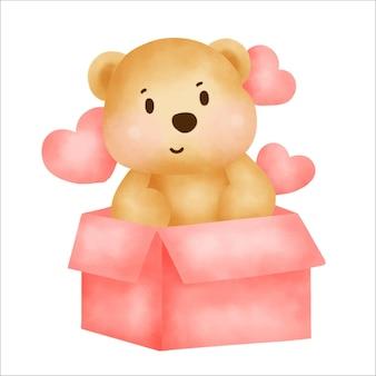 Cute teddy bear sitting on a gift box.
