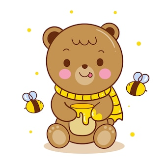 Cute teddy bear vector holding honey pot cartoon