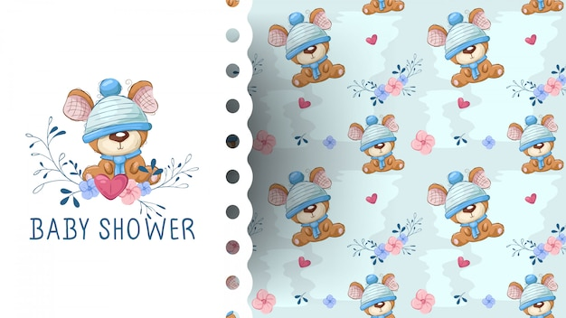 Cute teddy bear with flower cartoon