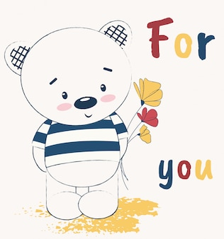 Cute teddy bear with flowers on greeting card