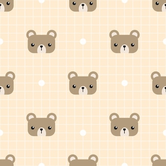 Cute teddy bear with grid cartoon seamless pattern
