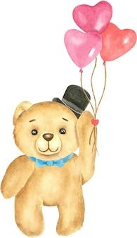 Милый плюшевый медвежонок с иллюстрацией акварели настоящего момента воздушного шара сердца.