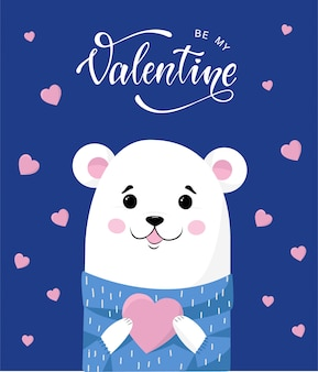 Cute teddy bear with a heart for valentine's day