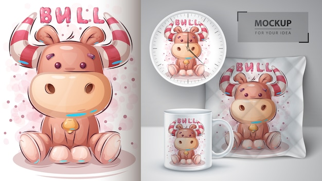 Cute teddy bull poster and merchandising