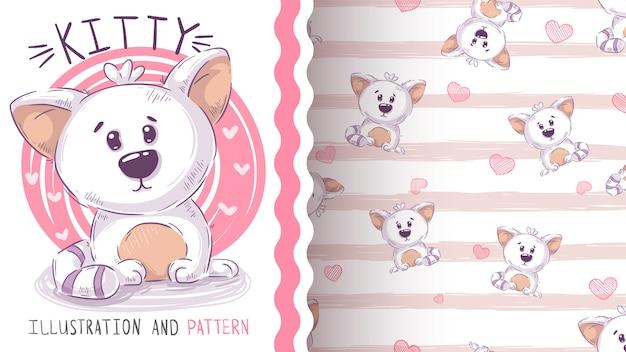Cute teddy cat - seamless pattern