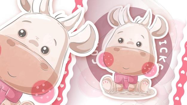 Симпатичная плюшевая корова - идея для вашей наклейки