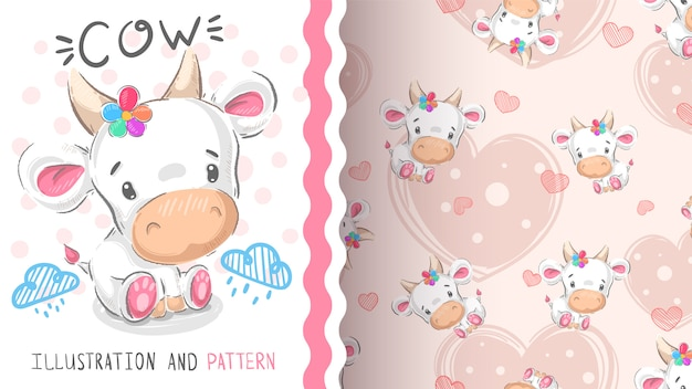 Cute teddy cow - seamless pattern