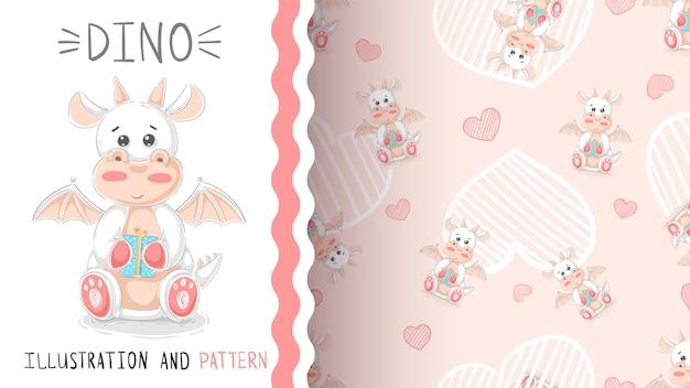 Cute teddy dino - seamless pattern