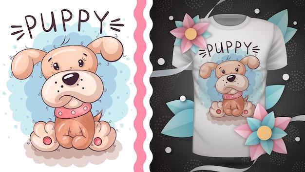 귀여운 테디 개-프린트 티셔츠에 대한 아이디어. 손 그리기