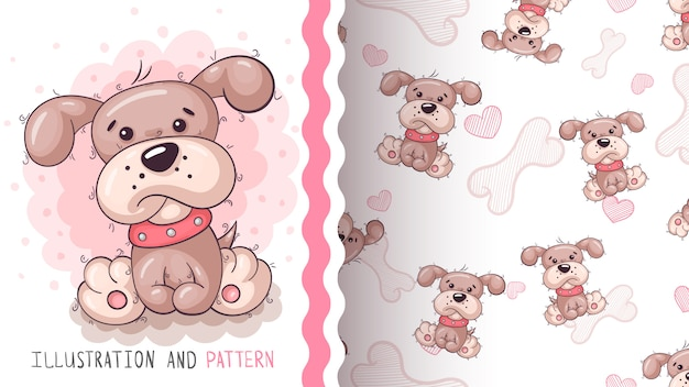 Cute teddy dog - seamless pattern.