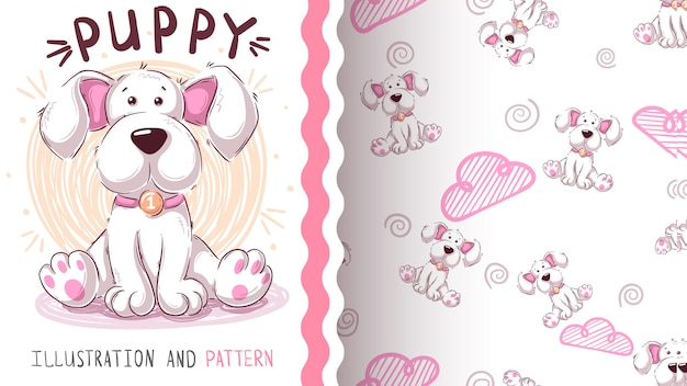 Cute teddy dog - seamless pattern