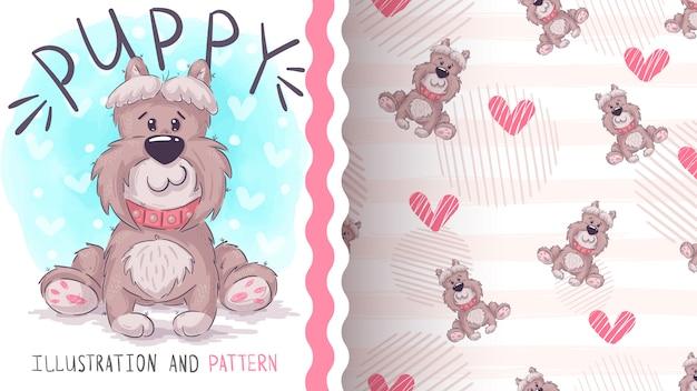 Cute teddy dog - seamless pattern