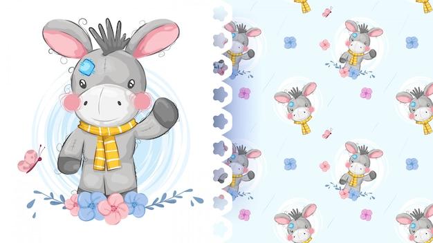 Cute teddy donkey seamless pattern