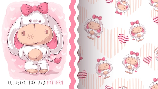 Cute teddy donkey, seamless pattern