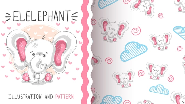 Cute teddy elephant seamless pattern