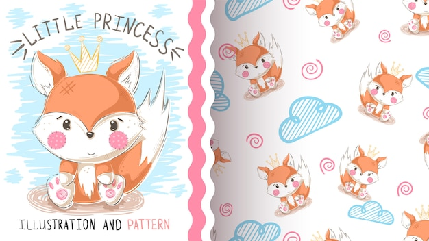 Cute teddy fox seamless pattern