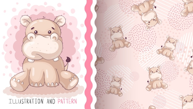Cute teddy hippo - seamless pattern